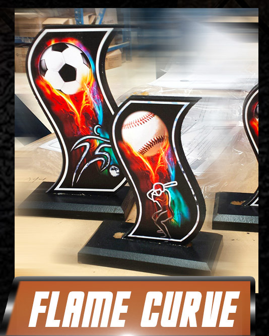 flame curve wood soccer trophy
