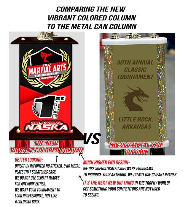 tin can trophy vs full color wood column trophy