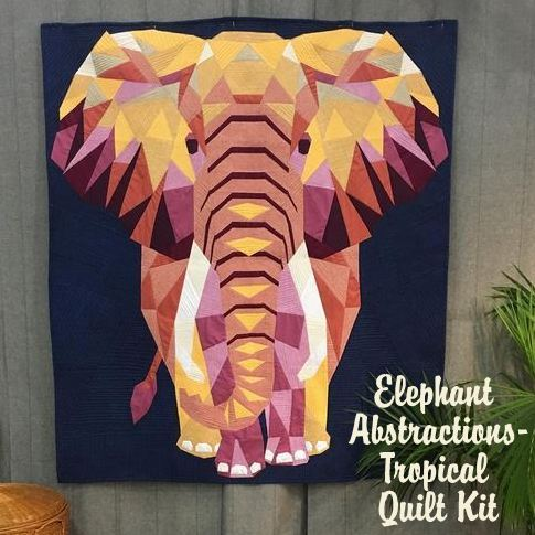 violet craft elephant abstractions  tropical quilt kit sewing pattern