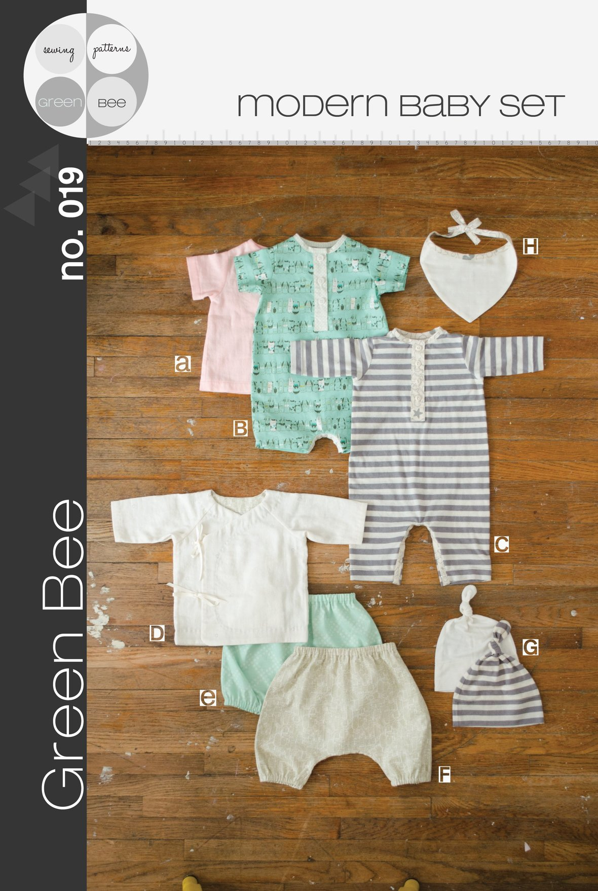 green bee design modern baby set sewing pattern