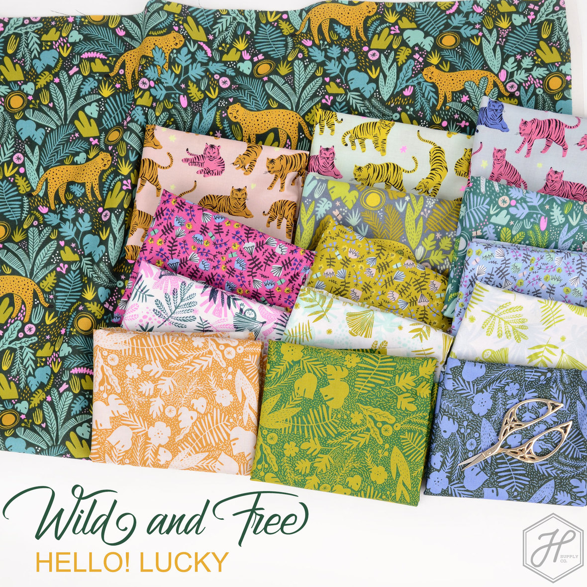 Wild and Free Fabric Robert Kaufman and hello lucky at Hawthorne Supply Co