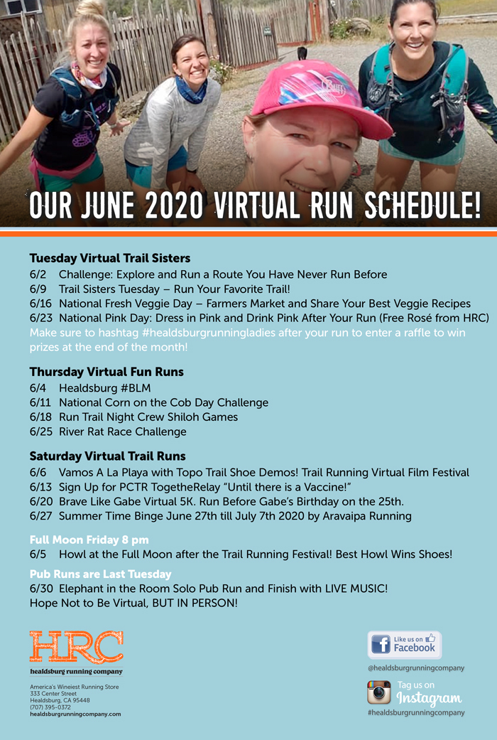 June 2020 virtual run schedule