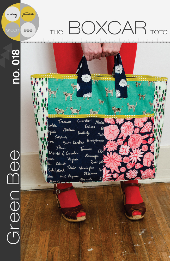 green bee design the boxcar tote sewing pattern