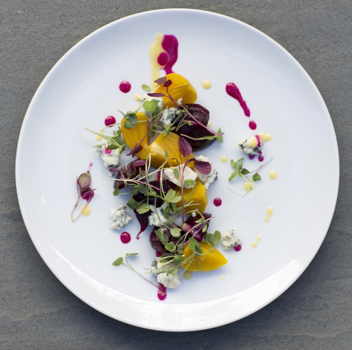 4-The-1770-House-Chef-Michael-Rozzi-Red-Golden-Baby-Beets-Salad-Roquefort-Local-Cress-Photo-Credit-Robyn-Lea