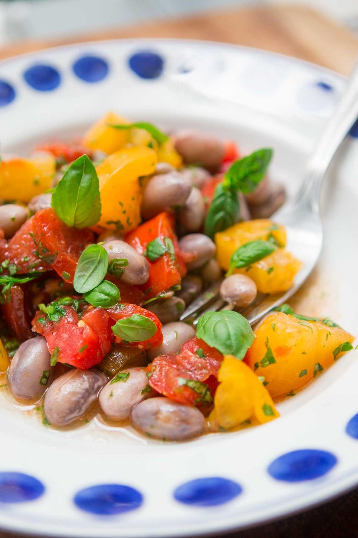 Tomato basil shelling bean salad recipe-6