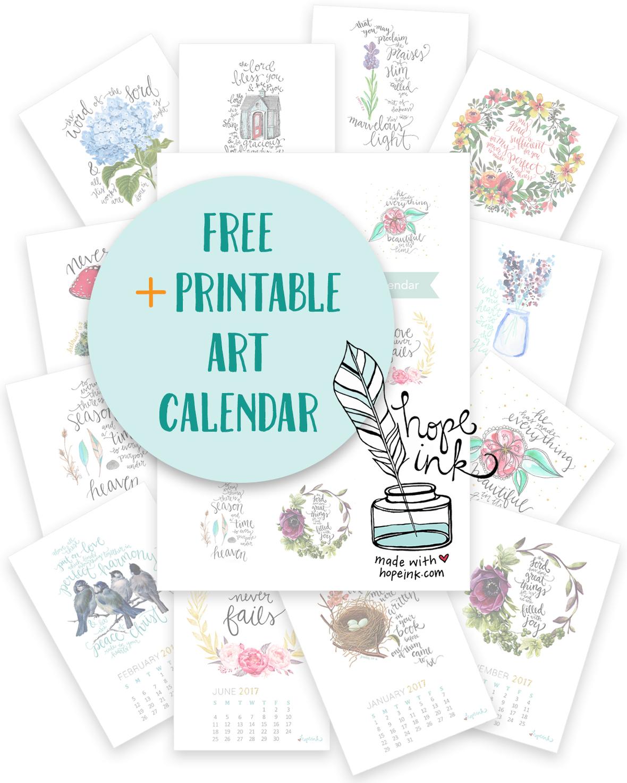 Hope Ink - Calendar Printable