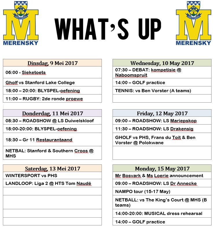 Whats-up 9-15 Mei 2017