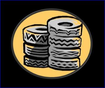 Stack of Tires - gold circle on blk