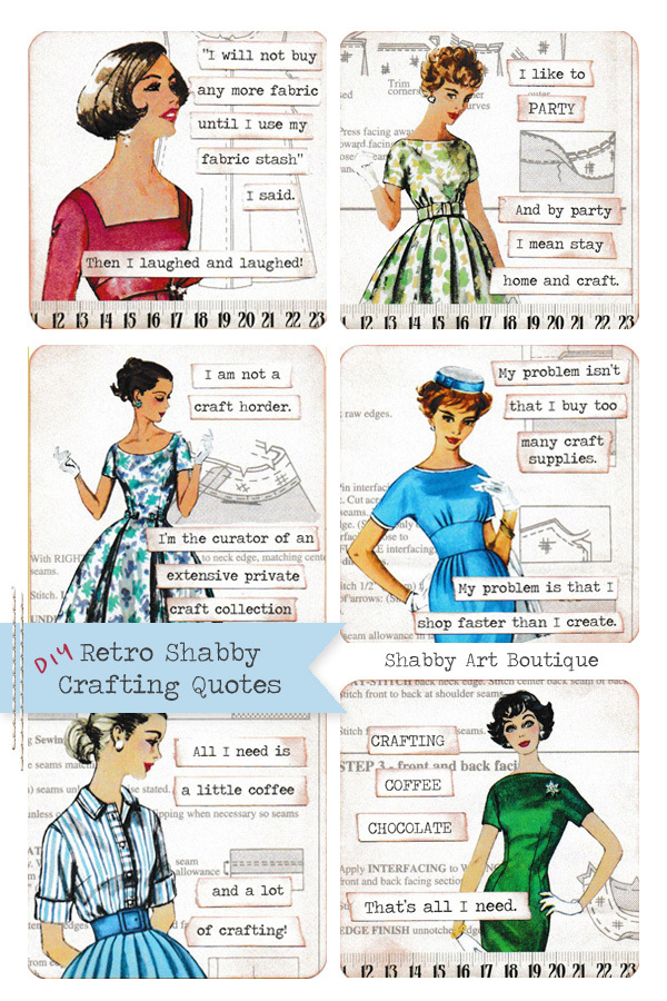 Make your own Retro Shabby Crafting Quotes using the Retro Shabby kit by Shabby Art Boutique