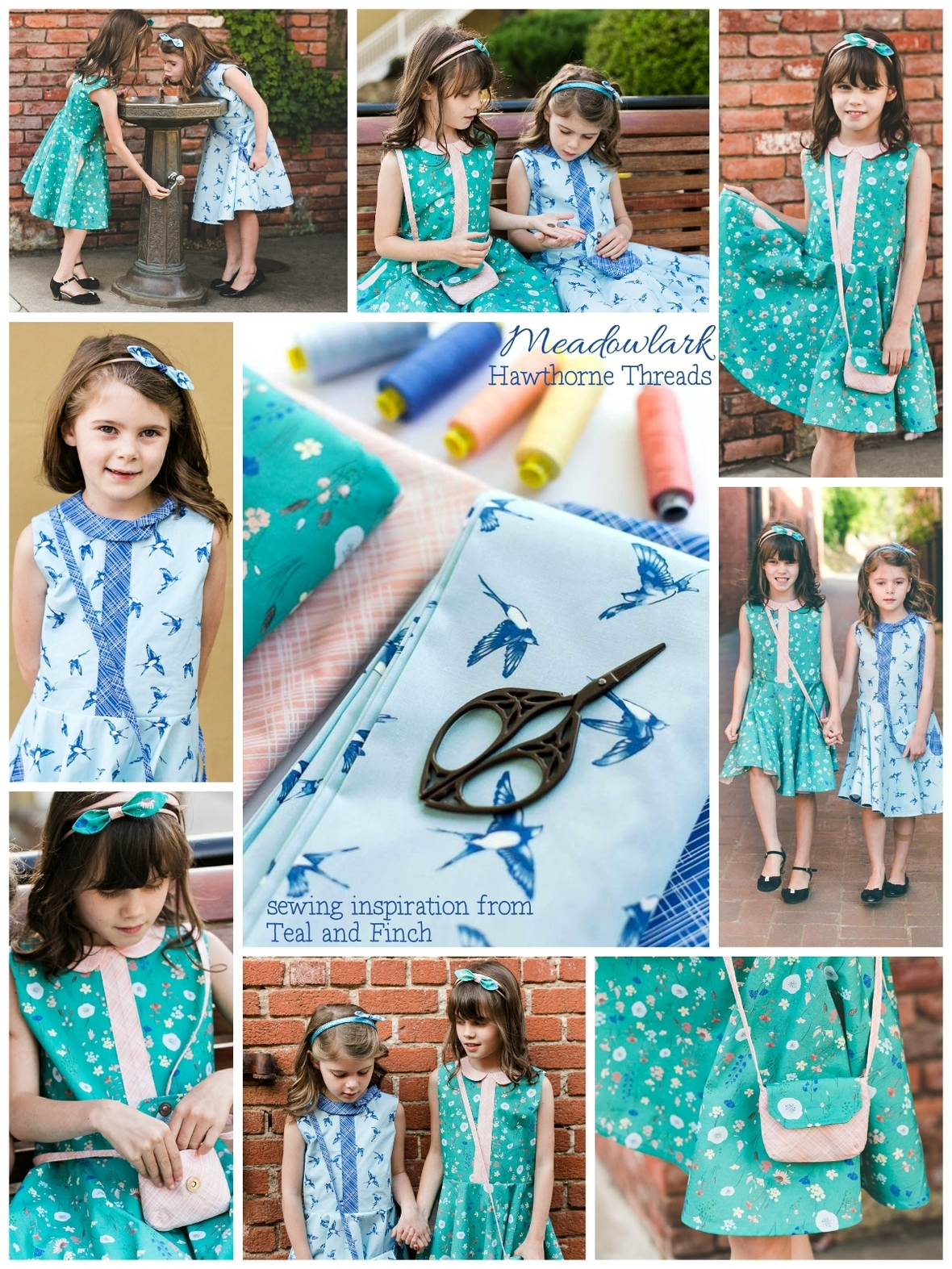 Meadowlark Fabric Sewing Inspiration Teal and Finch 1200