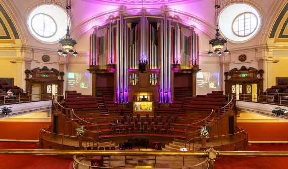 Methodist Central Hall - Great Hall with pipe organ-1024x600-1-570x334