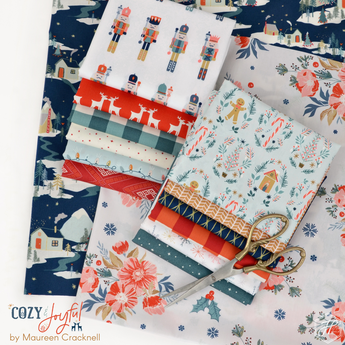 Cozy and Joyful Fabric Collection by Maureen Cracknell for Art Gallery at Hawthorne Supply Co