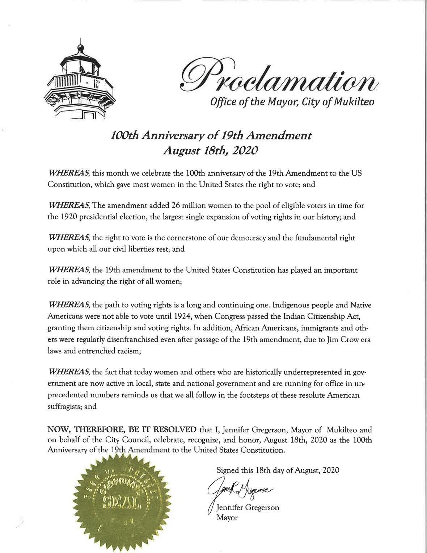 2020 100th Anniversary of 19th Amendment
