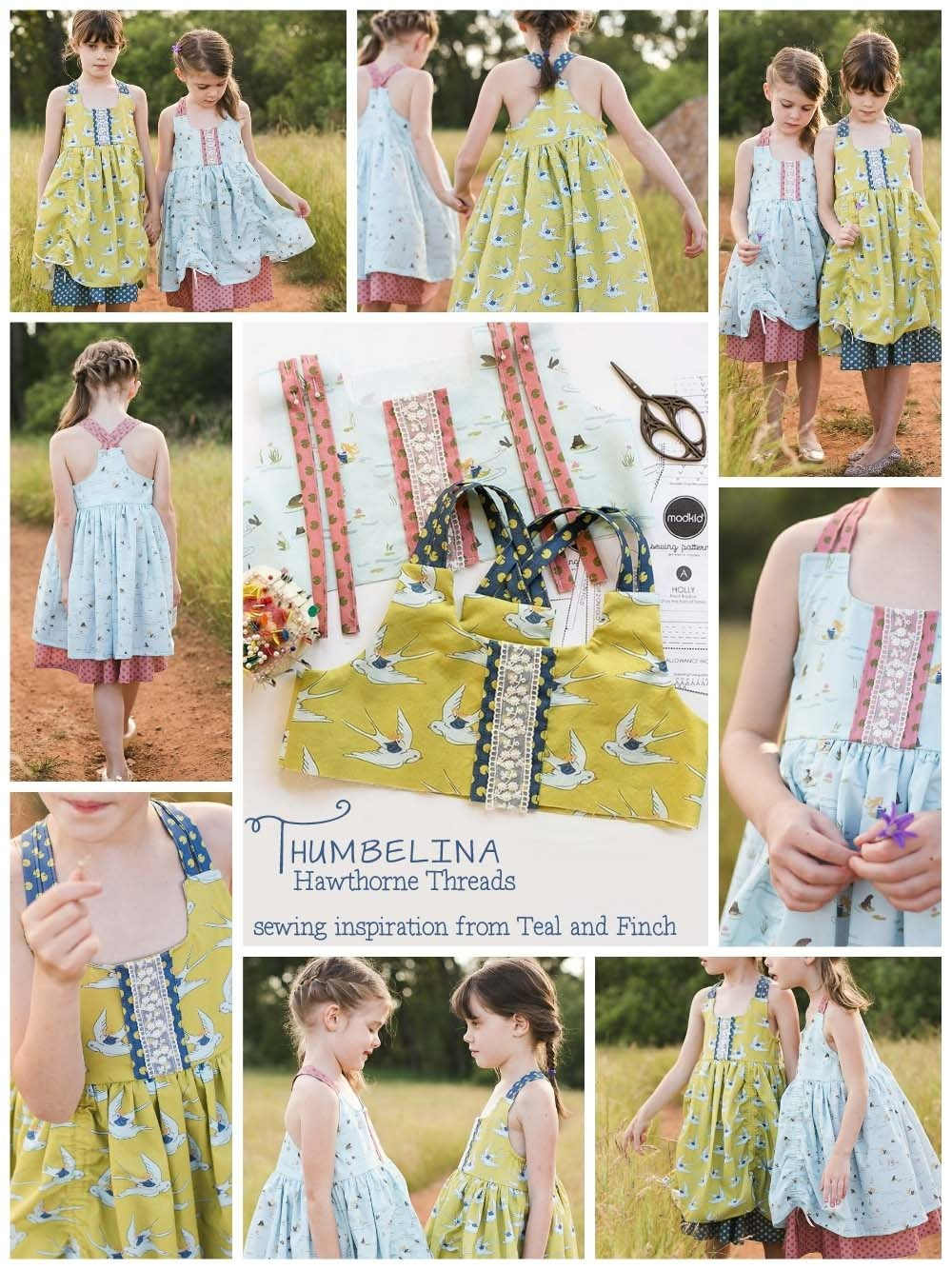 Hawthorne Threads Thumbelina Fabric sewing Inspiration by Teal and Finch b