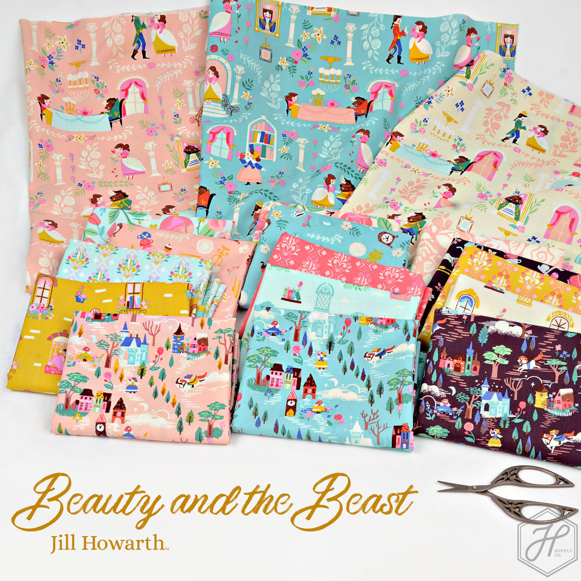 Beauty-and-the-Beast-Fabric-Poster-Riley-Blake-at-Hawthorne-Supply-Co