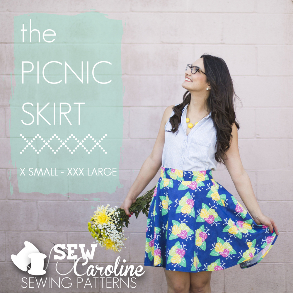 sew caroline the picnic skirt sewing pattern