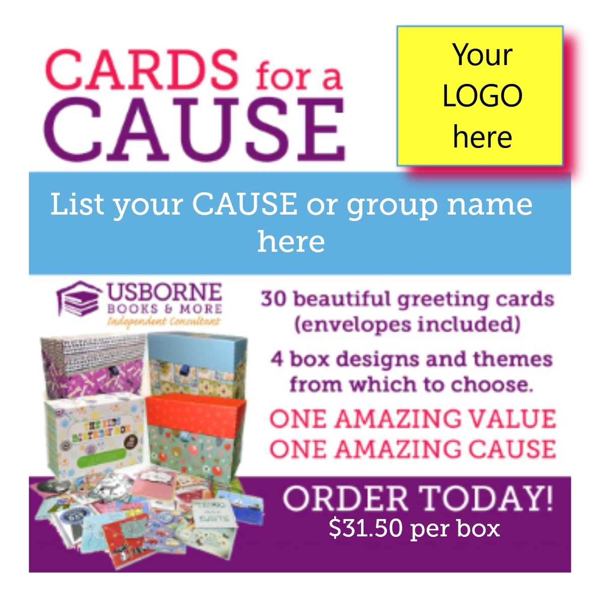 Cards for a Cause is GREAT to sell for fundraisers because it is a quality product that people will use (cards are equivalent to $4-5 cards in stores), ...