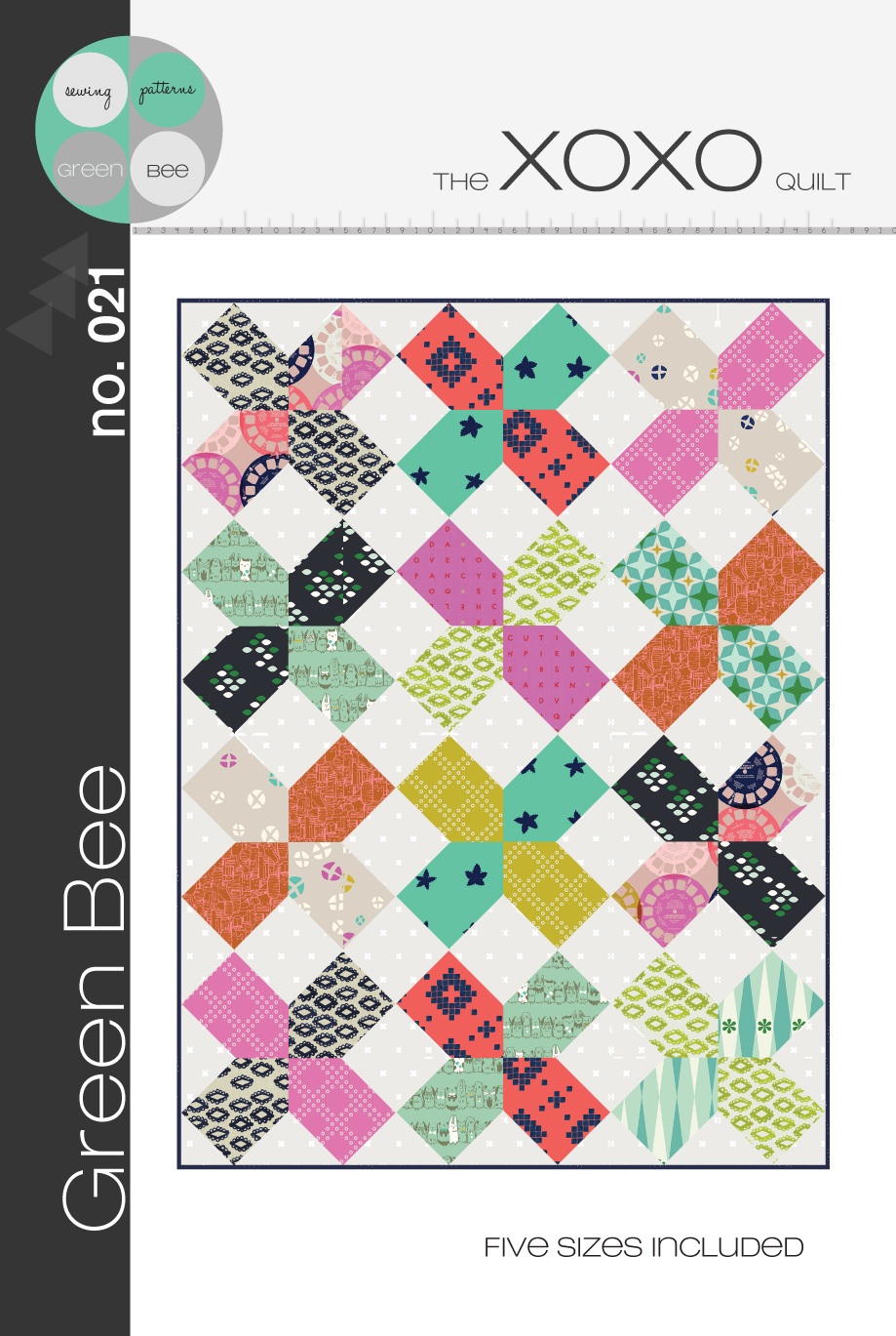 green bee design xoxo quilt sewing pattern