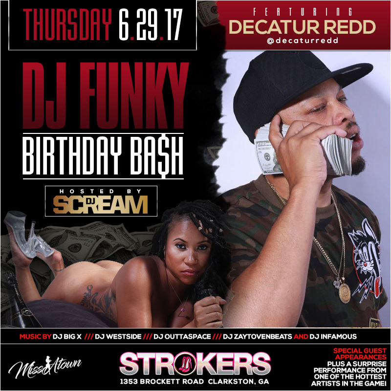 dj funky bday bash flyer decatur redd