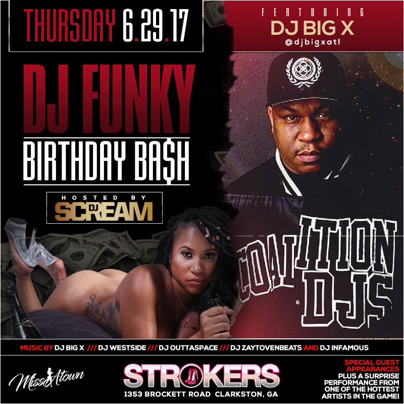 dj funky bday bash flyer dj big x