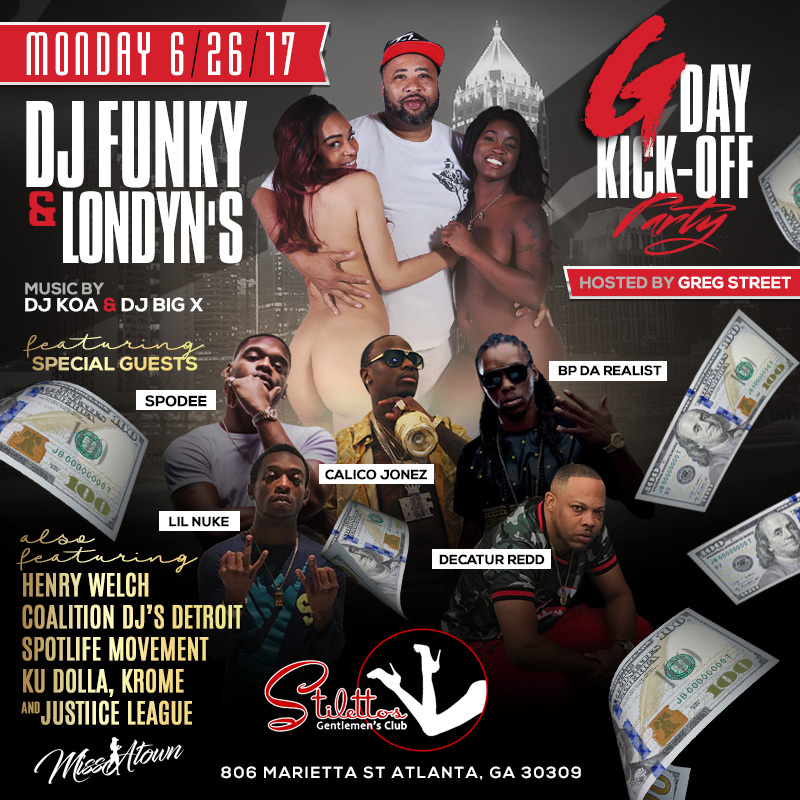 dj funky gday bash stilletos flyer