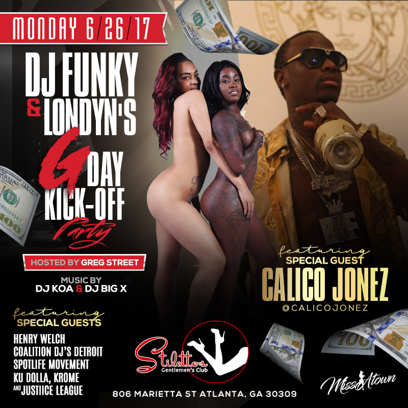 dj funky gday bash stilletos flyer calico jonez