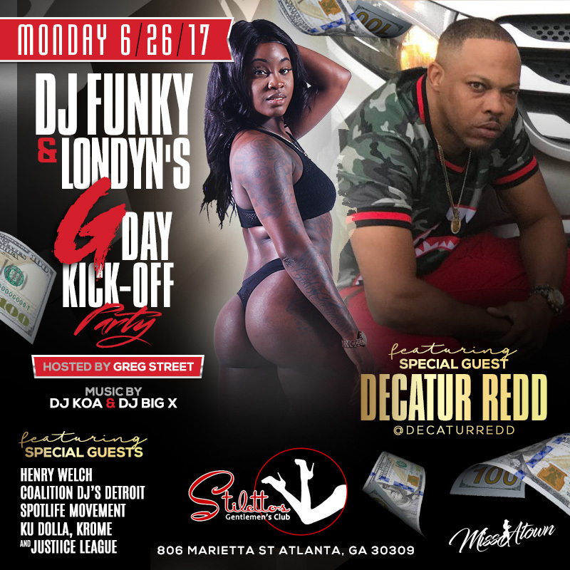 dj funky gday bash stilletos flyer decatur redd