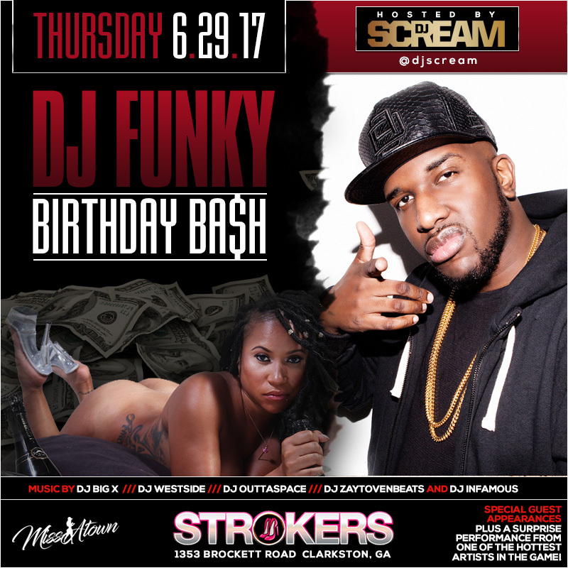 dj funky bday bash flyer dj scream