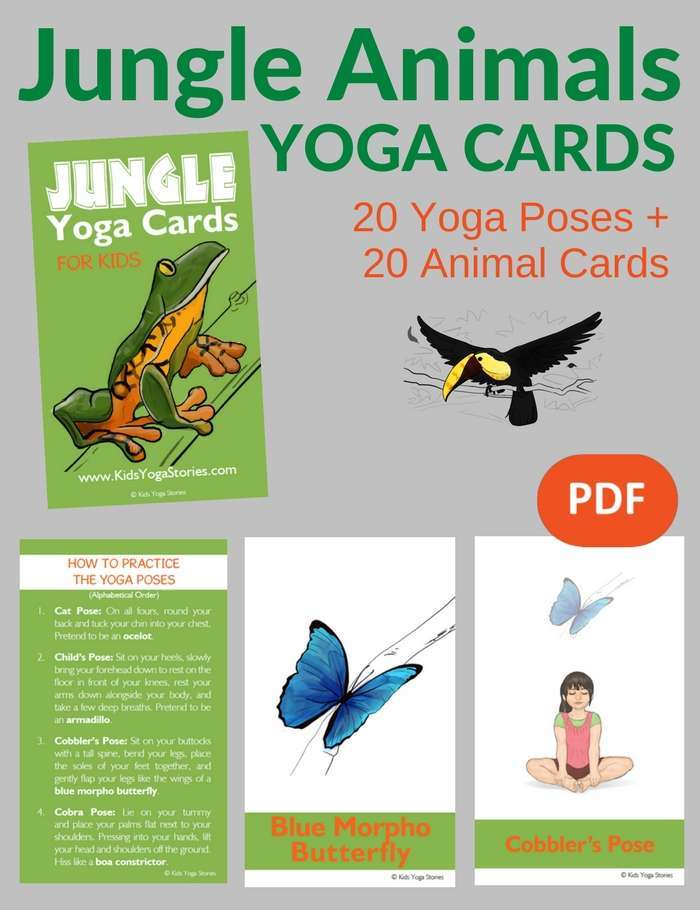 Jungle Animal Yoga Poses Yoga Cards