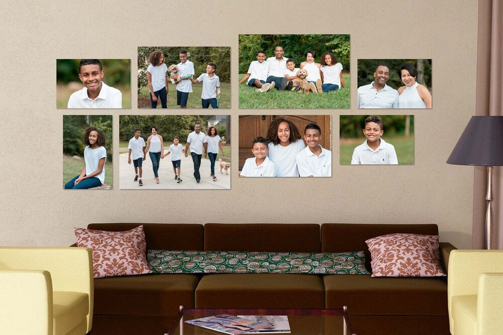 Family three kids dog-displayed-art-on-wall-catch-a-spark-photography