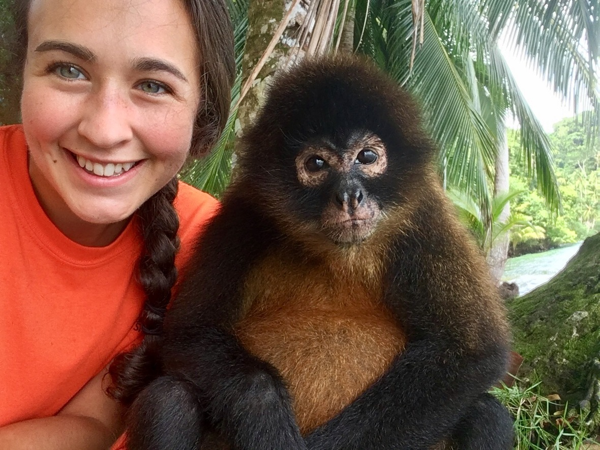 Kristina Mira and Poppy the spider monkey