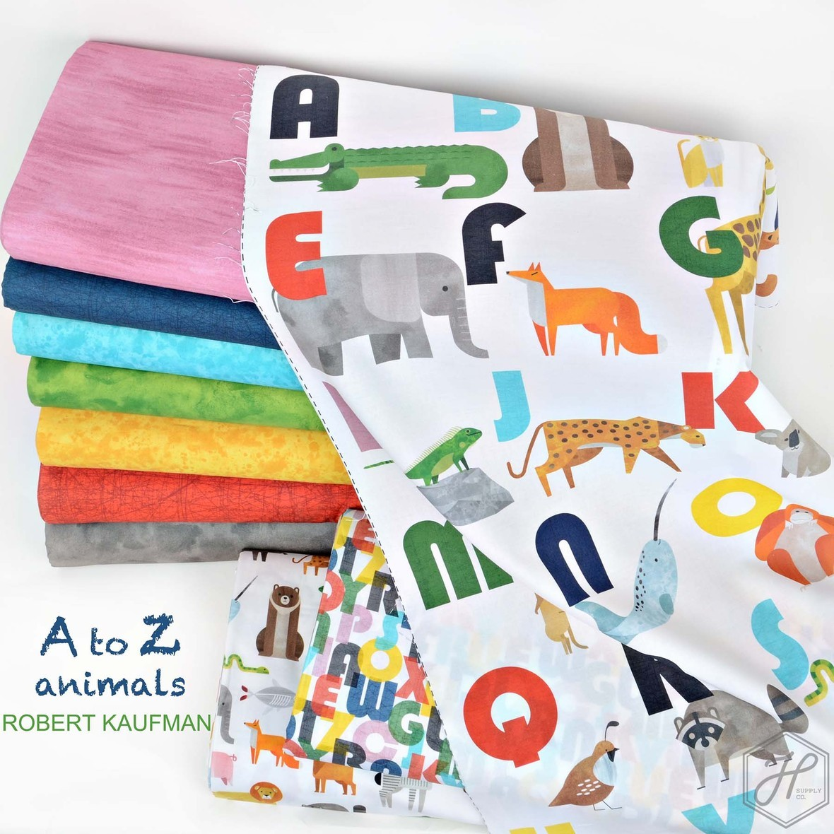 A to Z Animals fabric Robert Kaufman at Hawthorne Supply Co