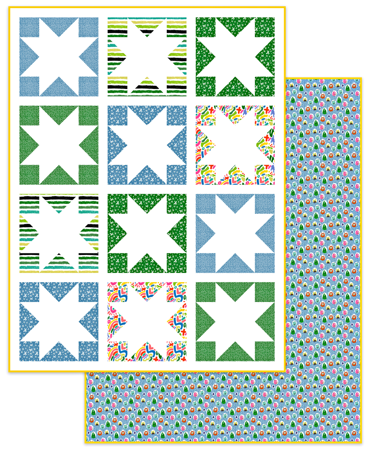 Inside Out Stars Boys Quilt 2