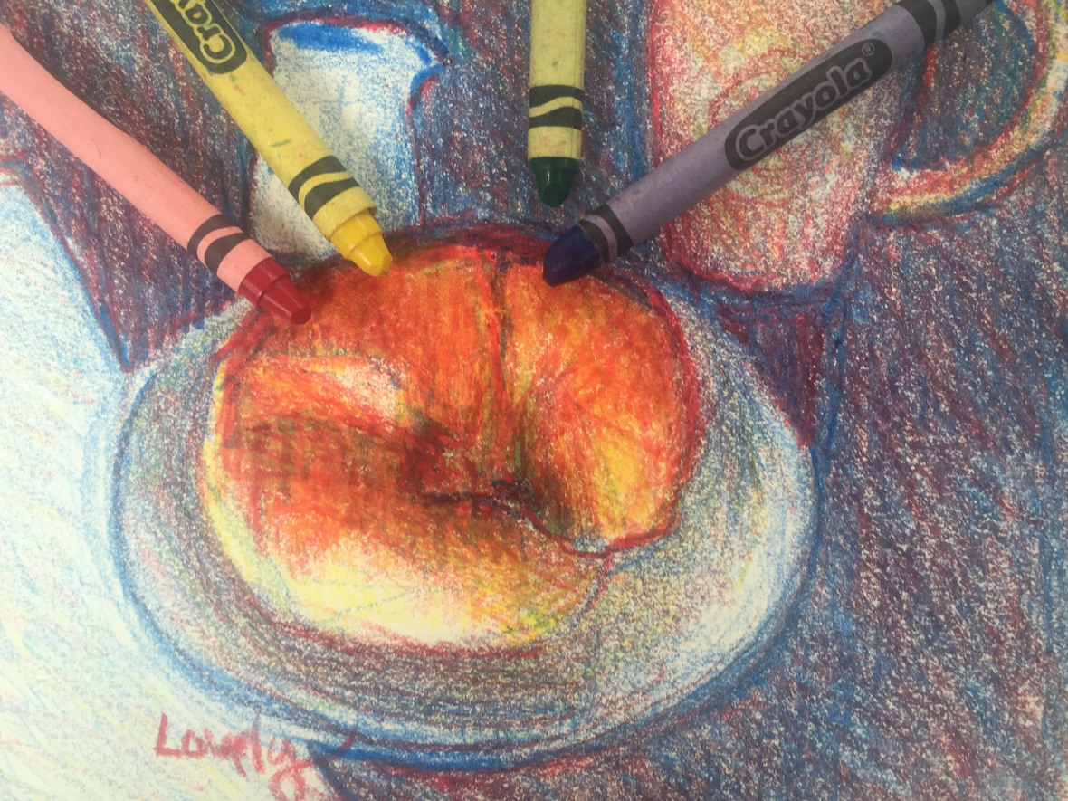 Croissant with crayons