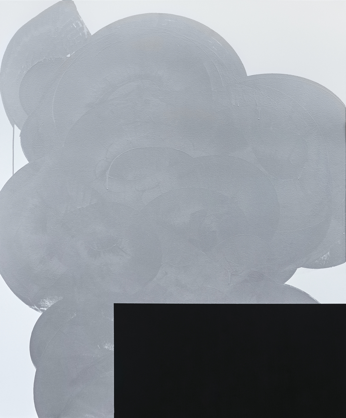 Chad Hasegawa Silver With Black 1 latex and acrylic on canvas - 72 x 60 inches