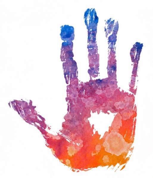 Hand multicolored