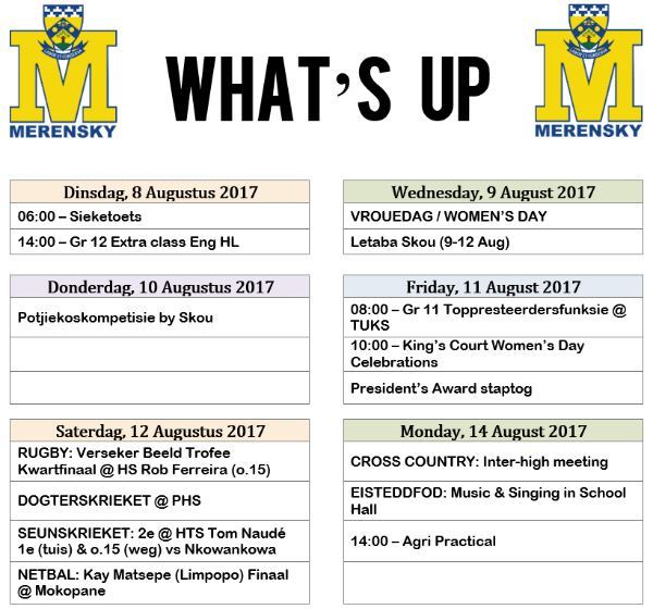 Whats Up 8-14 Aug 2017