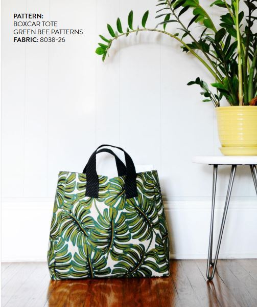 cotton and steel lookbook - box car tote  green bee patterns