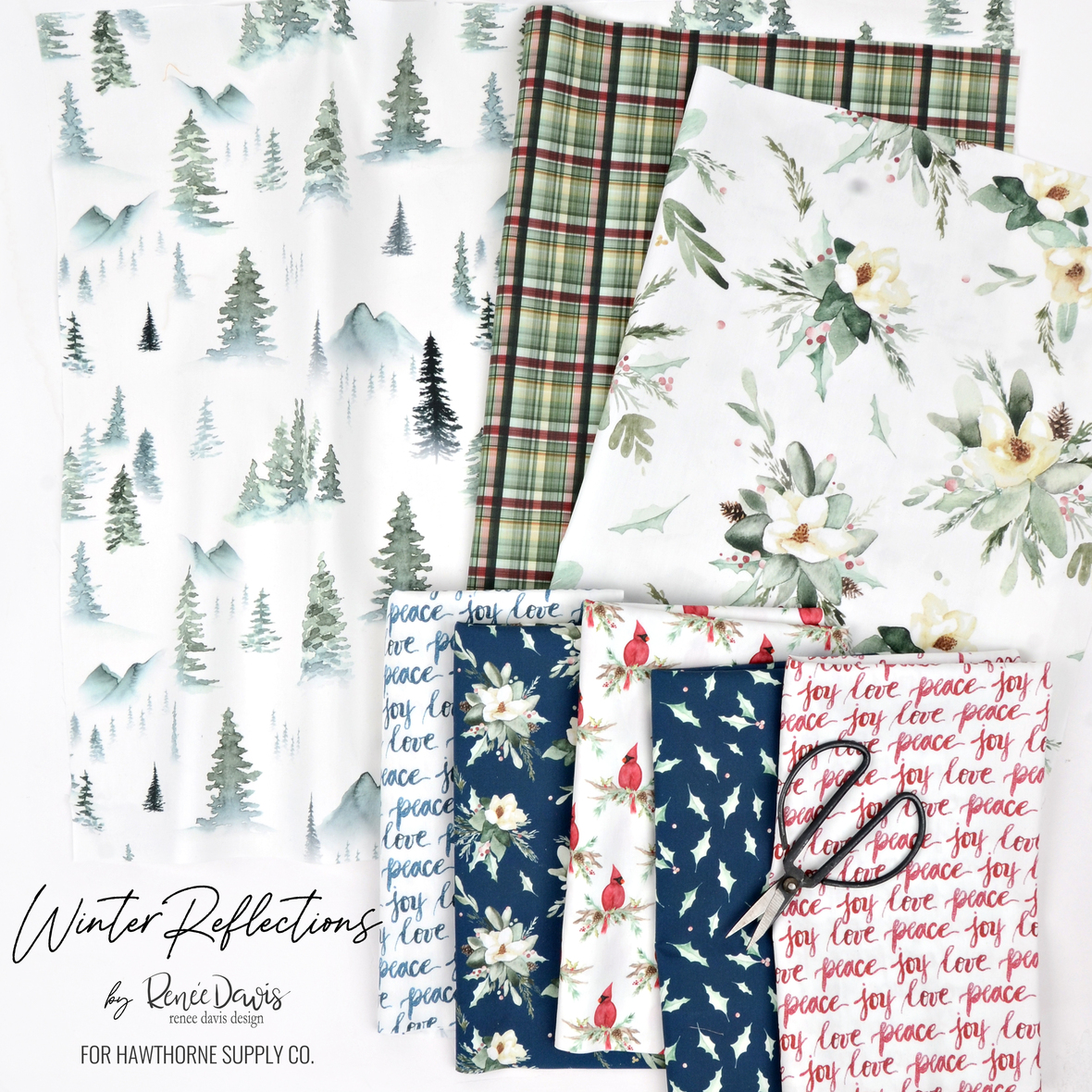 Winter Reflections Christmas Fabric from Renee Davis for Hawthorne