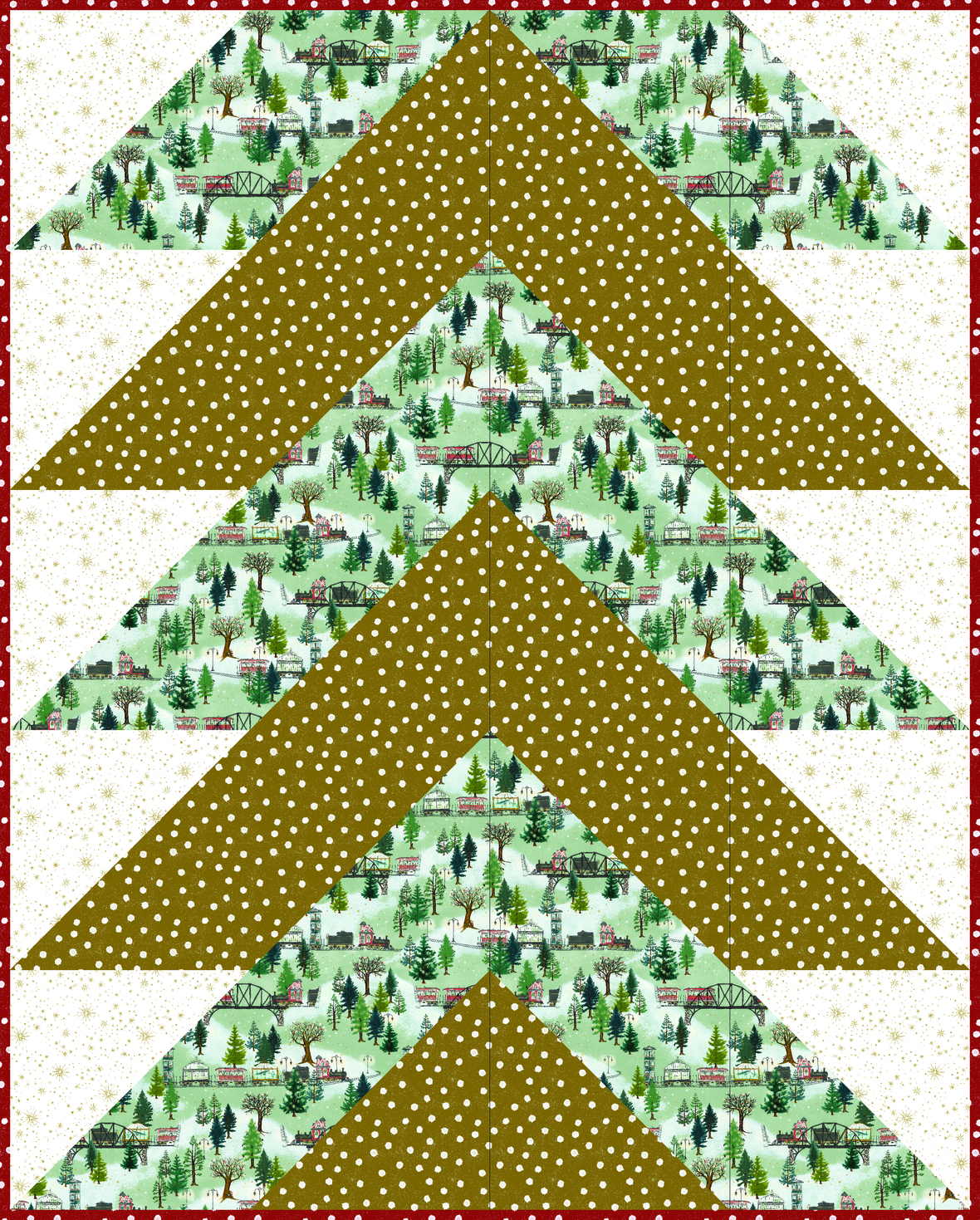 Pine Falls Quilt - Christmas Trains 5