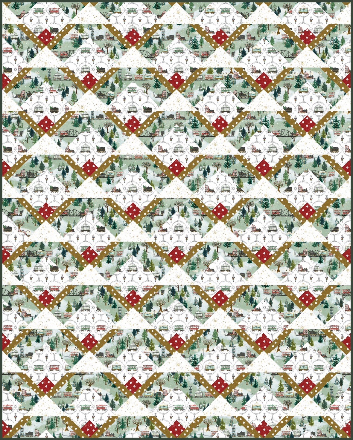 Snow Cabin Quilt - Christmas Trains 2