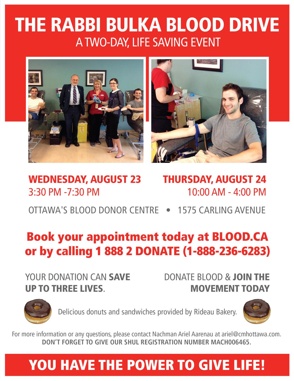 Rabbi Bulka Blood Drive 2017