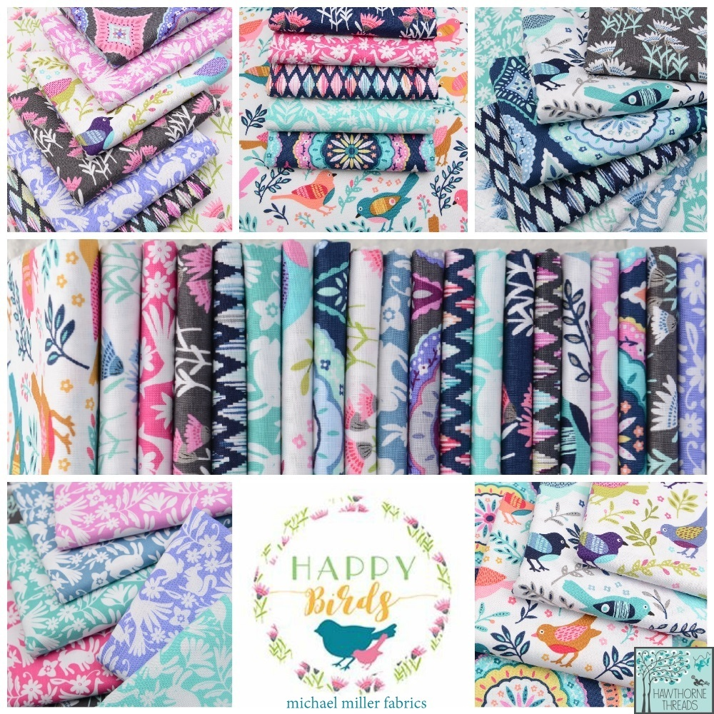 Happy Birds Fabric Poster