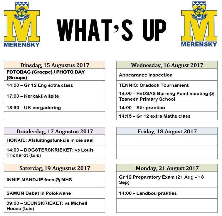 Whats Up 15-21 Aug 2017