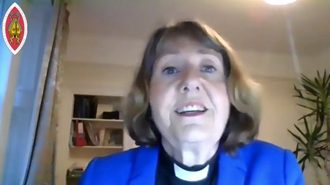 Revd Elaine Garman speaks at the online Synod 2021 about the motion to commit to net zero by 2030.
