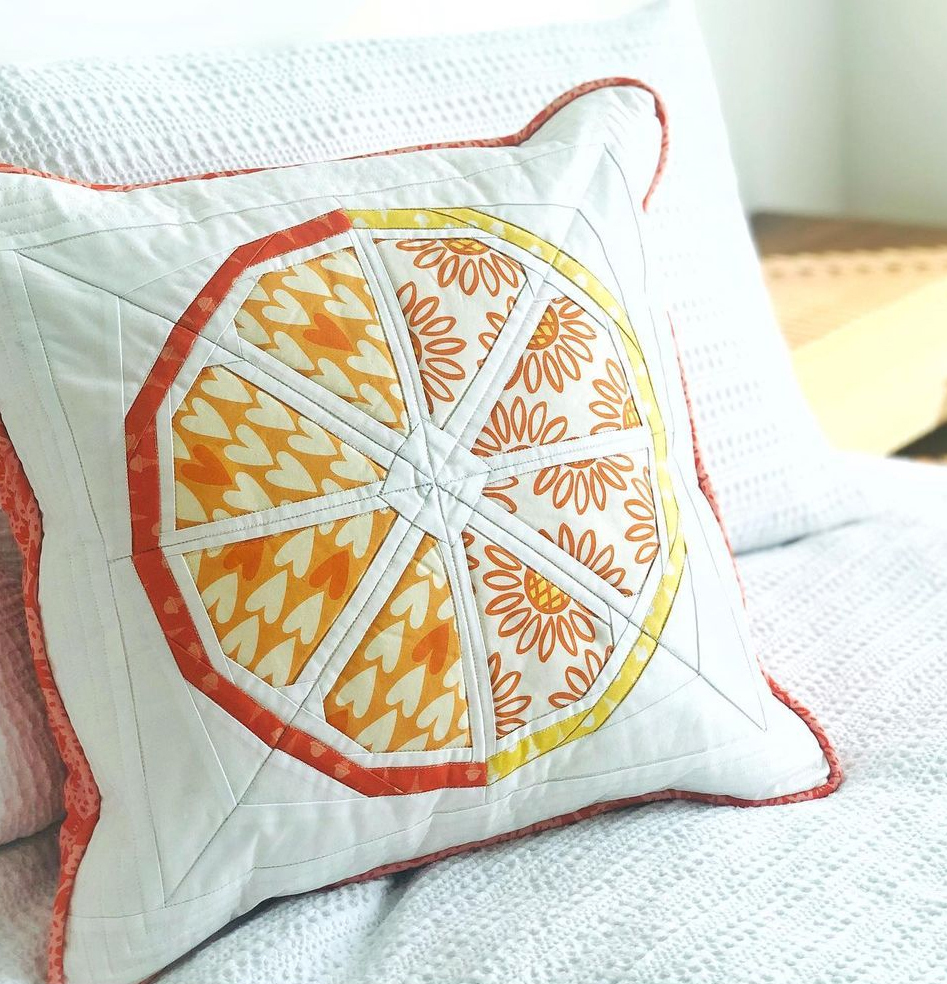 Citrus Slice Quilt pattern by whole circle studio pillow figo IG