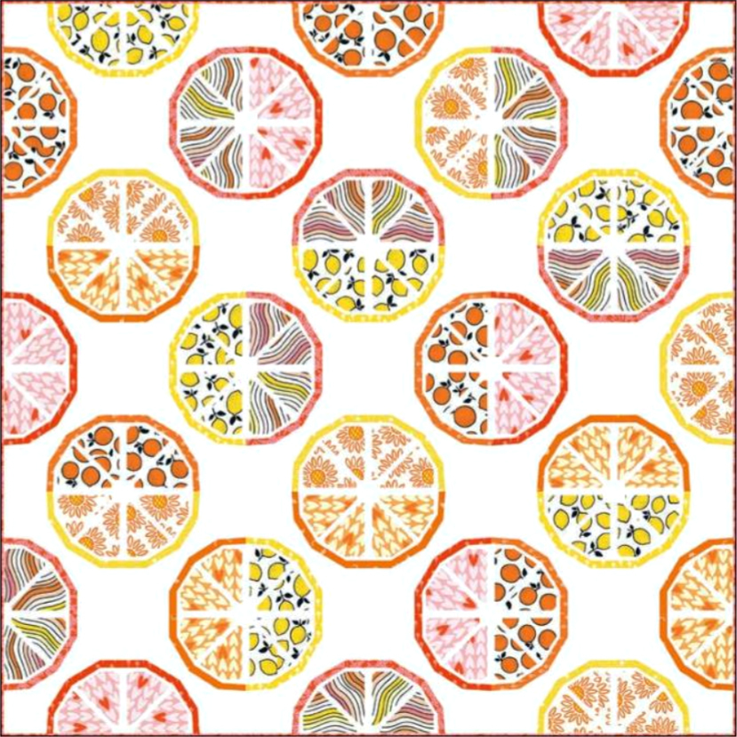 Citrus Slice Quilt pattern by whole circle studio