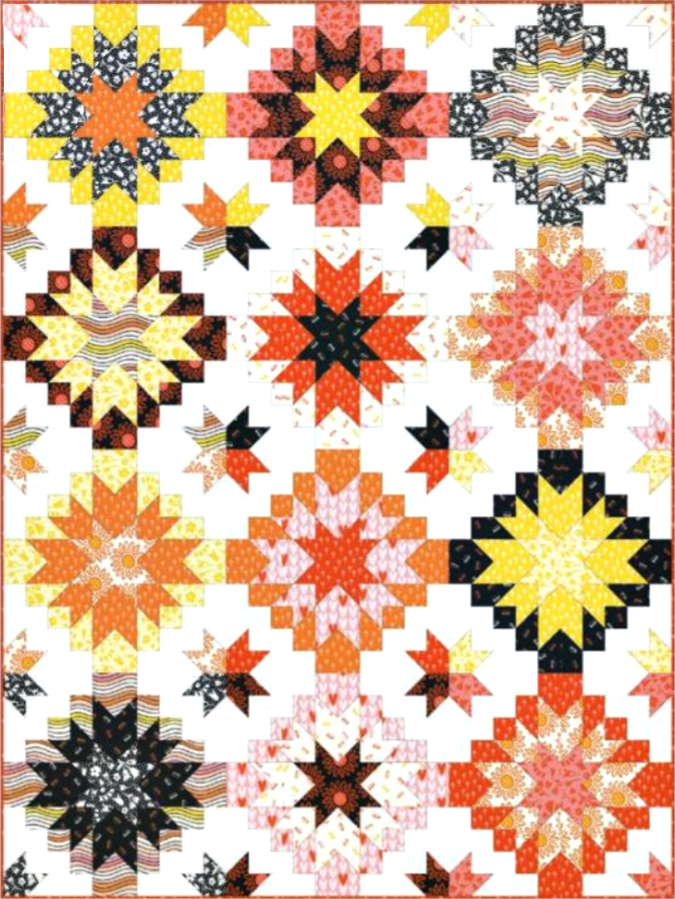 Harvest Star Quilt pattern by patchwork and poodles fat quarter friendly