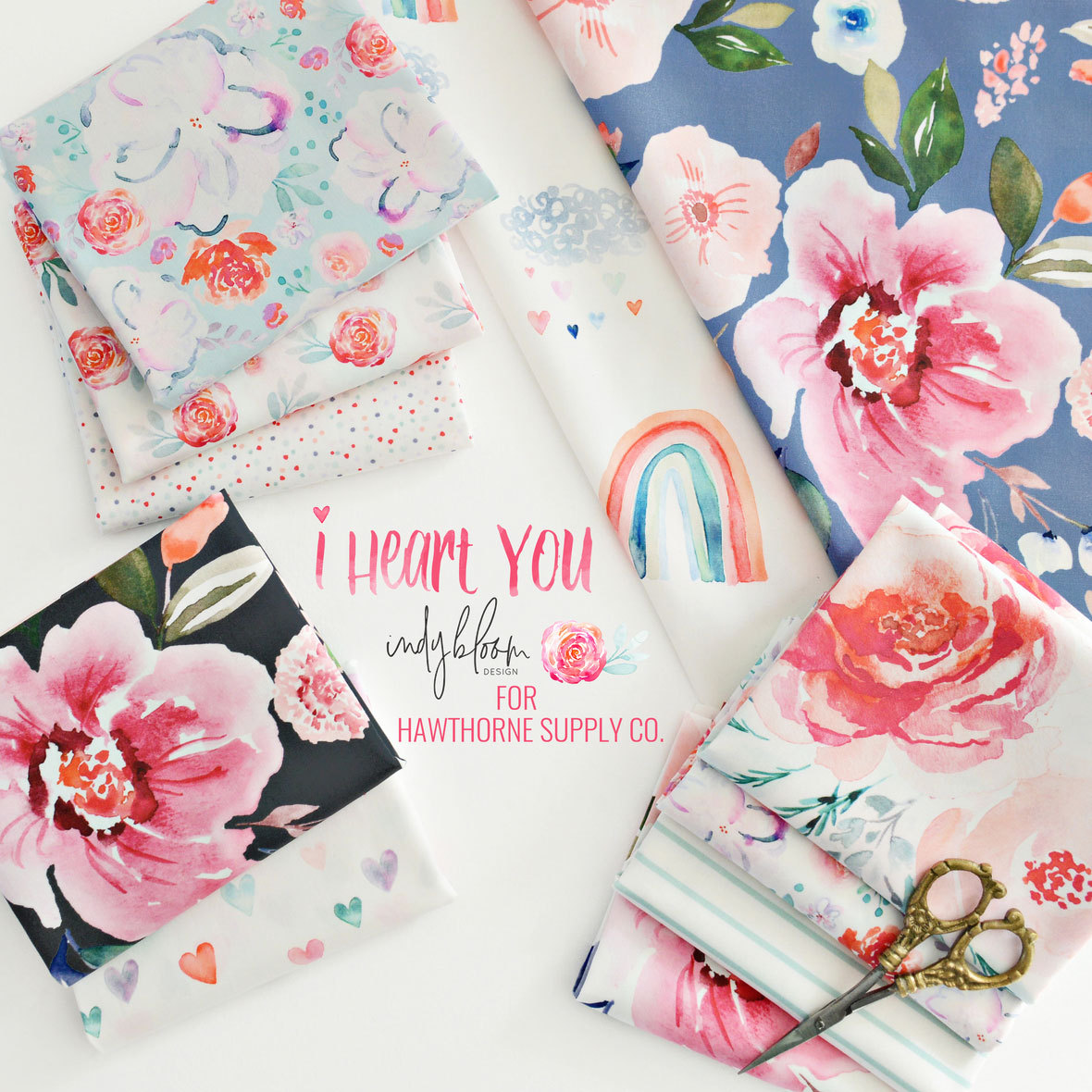 New-Indy bloom I Heart You Fabric Poster 2