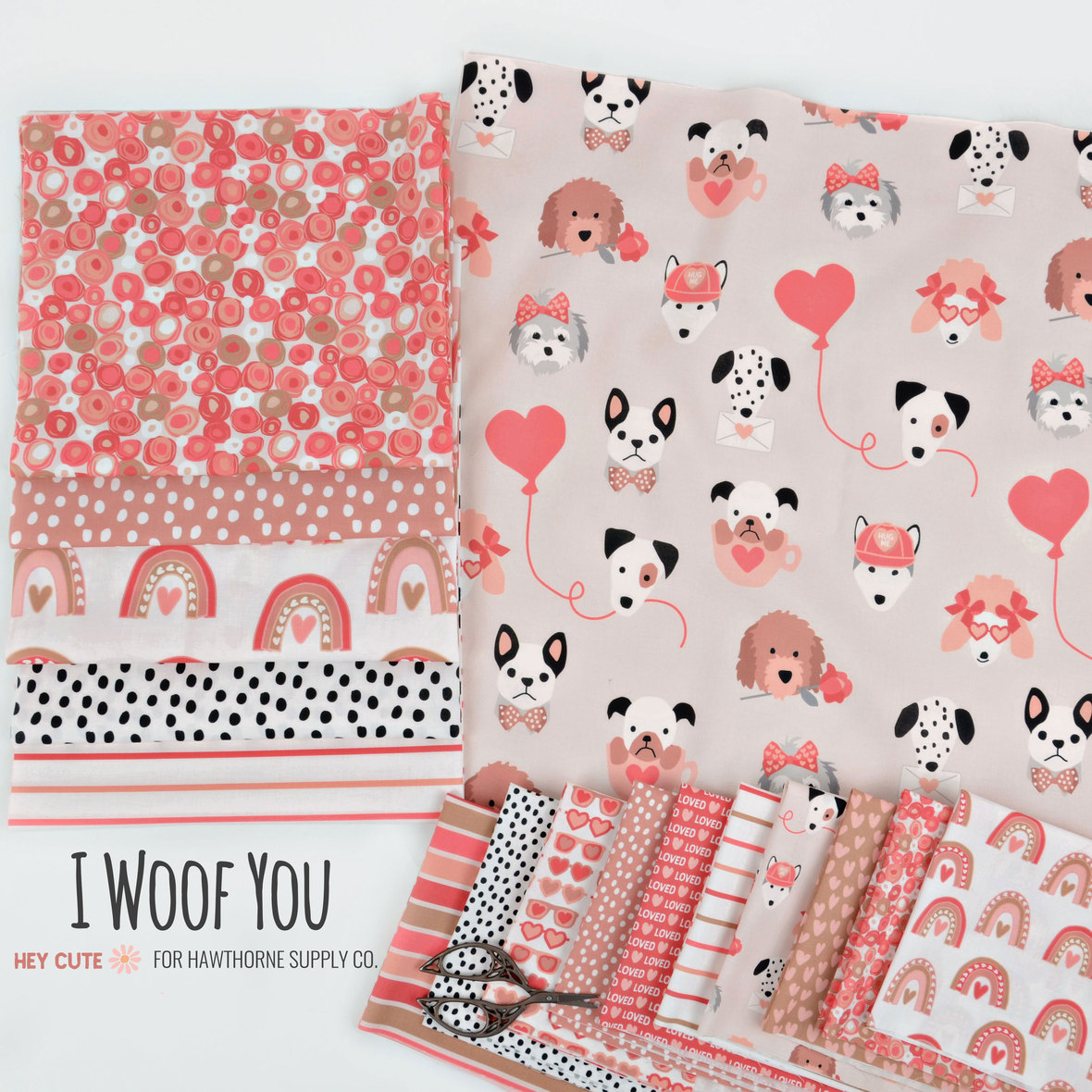New-I-Woof-You-Valentine s-Day-Fabric-Hey-Cute-Design-for-Hawthorne-Supply-Co